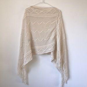 Knitted Fringe Popover Shrug Sweater